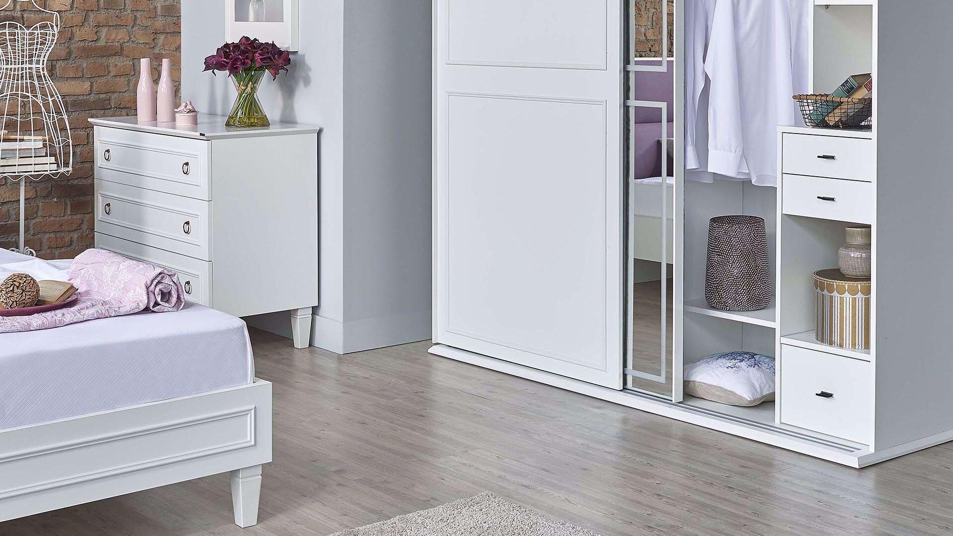 Cara Sürgülü Dolap (200 Cm) (Beyaz)