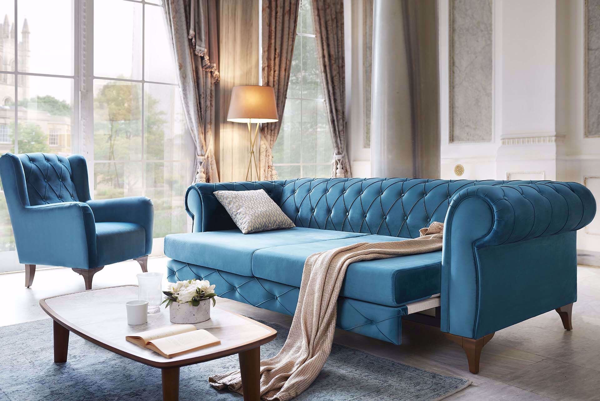 Sophia Chesterfield Three-Seat Sofa (Doubles as Bed)
