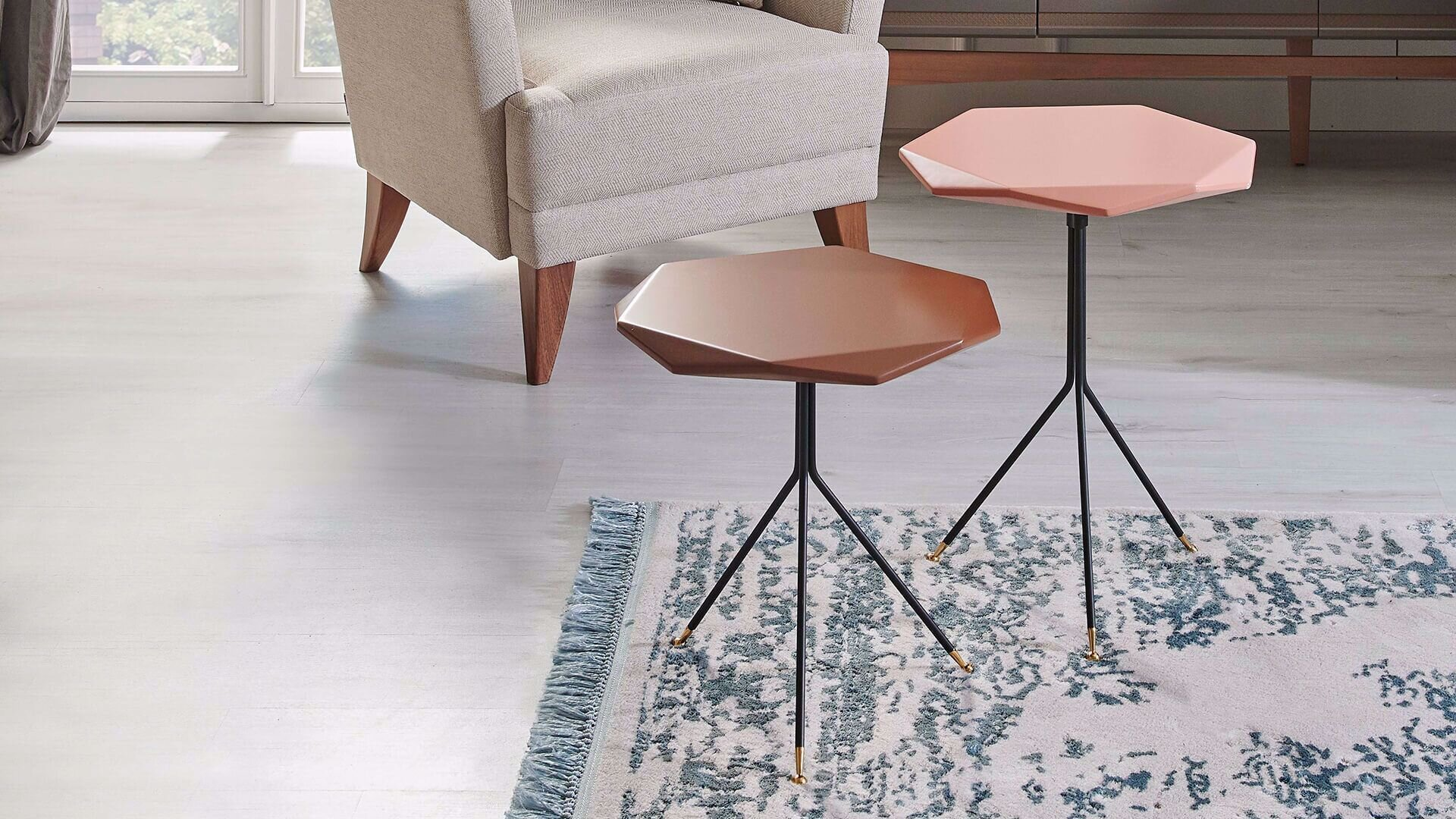 Gable Double Nesting Table (Powder/Coffee)