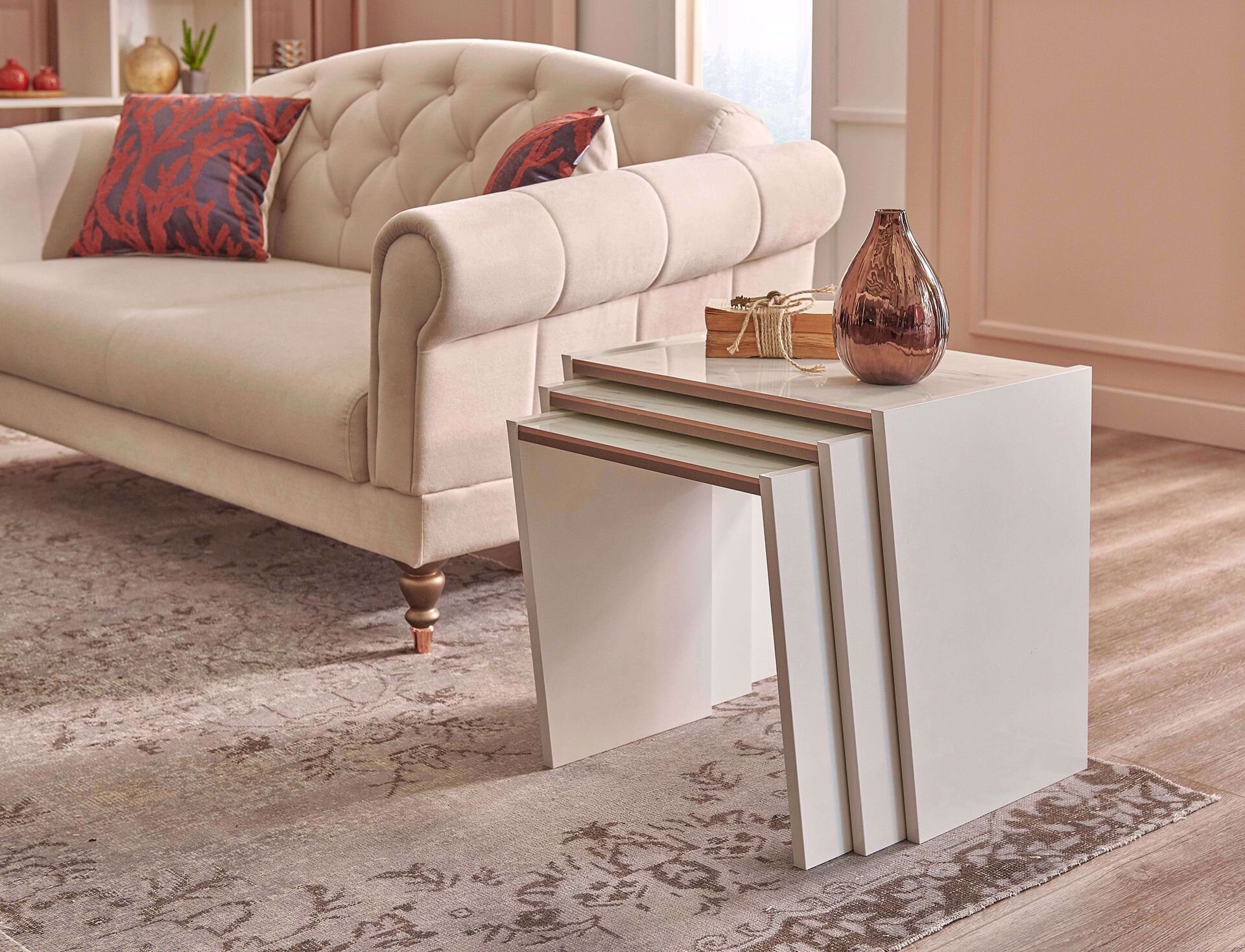 Nesting Table  Marble/Pearl Cream