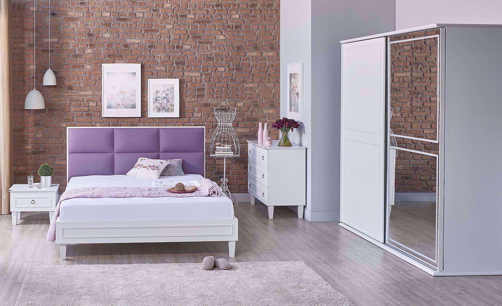 Cara Bedstead (with Base) 160*200cm (Incl. Headboard) (Purple)