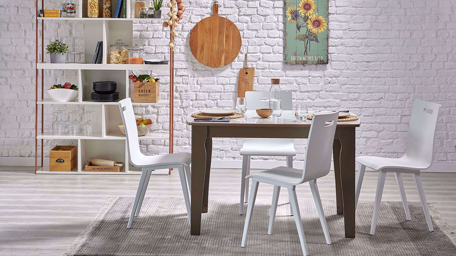 Levana Fixed Marble Dining Table (120*85 cm)