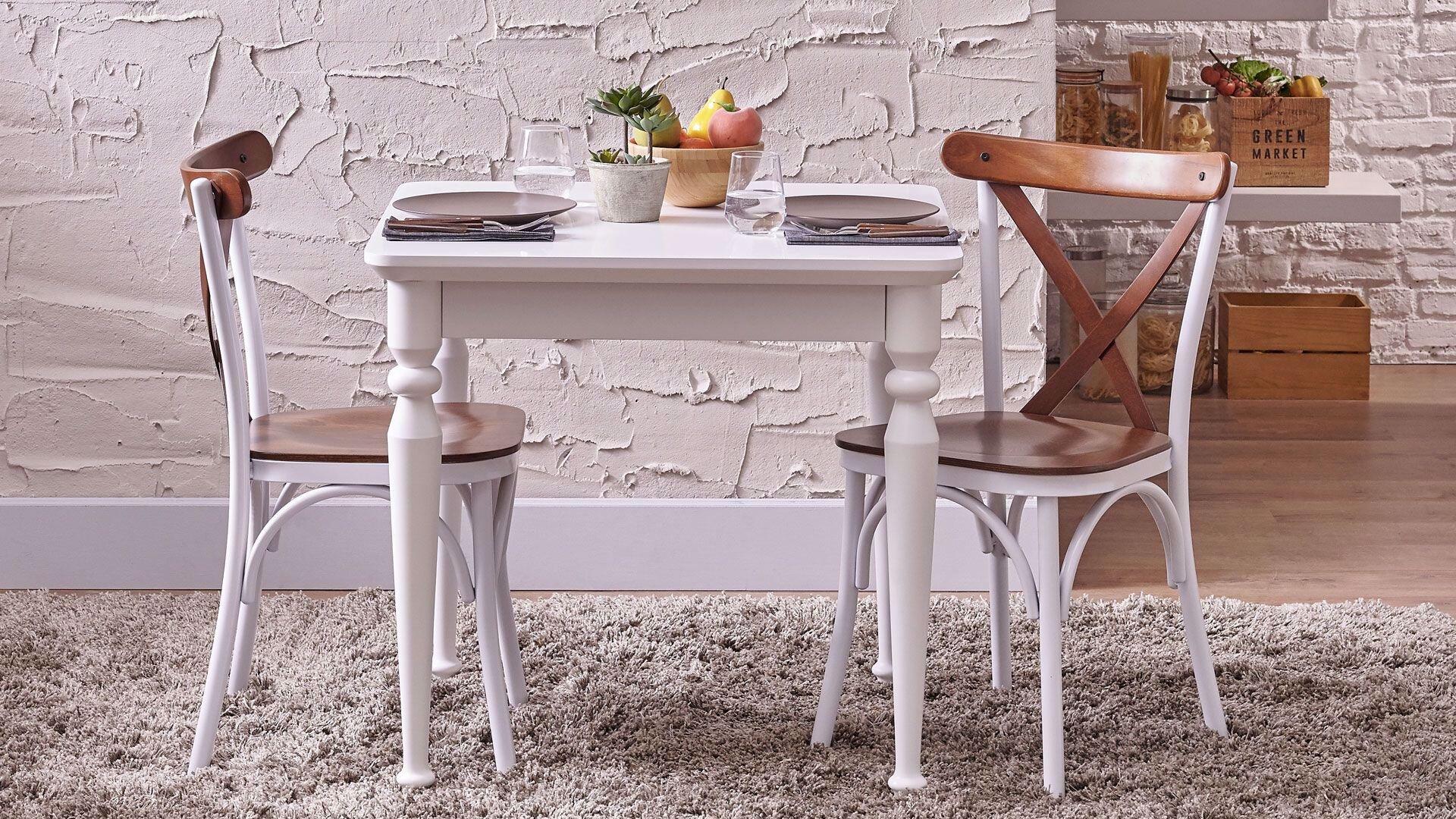 Claire Sabit Masa Beyaz 80*80 cm