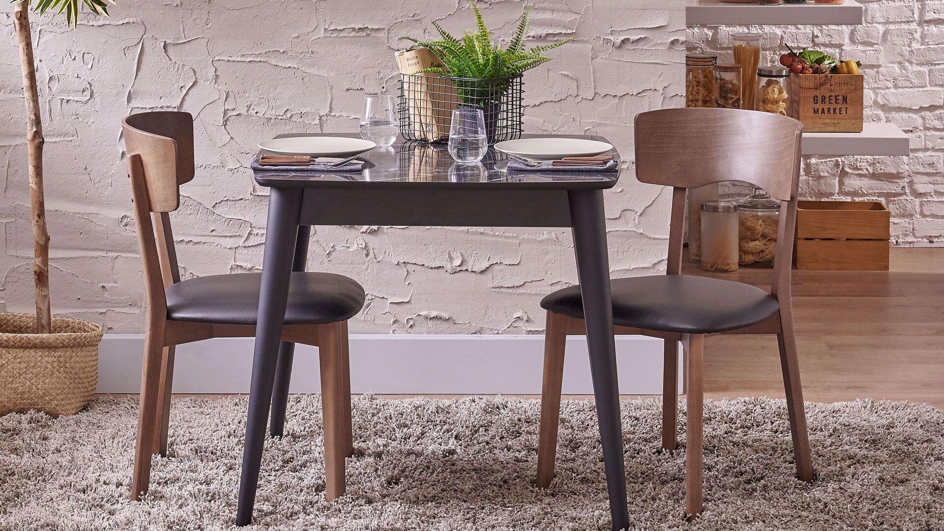 Pedra Fixed Dining Table Black Leg 80*80 Cm