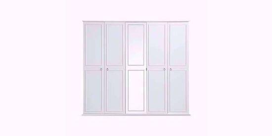 Cara 5 Kapaklı Dolap (250 Cm) (Beyaz)