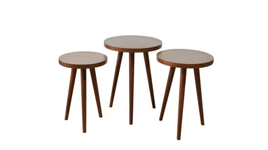 Triple Round Nesting Table (Natural Walnut)